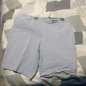 Blue & White Striped Plus Size Bermuda Shorts